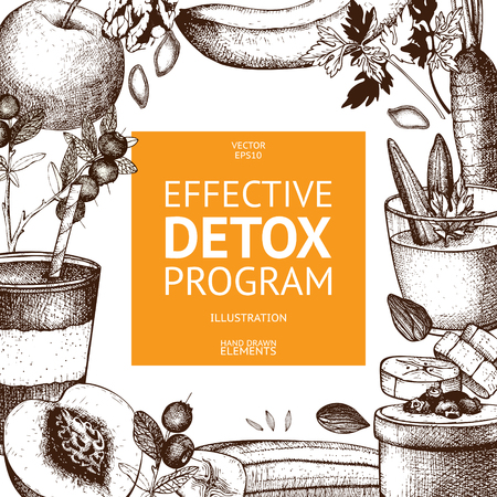 Vector design with hand drawn detox illustration. Organic food sketch background. Effective diet ingredients. Vintage template