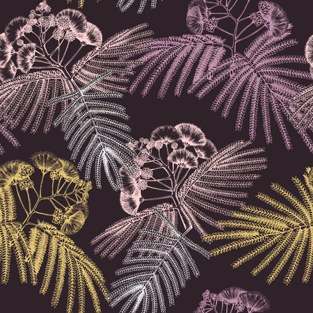 Seamless pattern with hand drawn Silk tree sketch. Vintage background with decorative albizia flowers. Vector floral illustration.