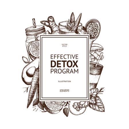 Diseño de tarjetas de vida saludable. Fondo de vector con bosquejo de productos vegetarianos dibujados a mano. Ilustración de ingredientes de alimentos y bebidas de desintoxicación. Plantilla de dieta