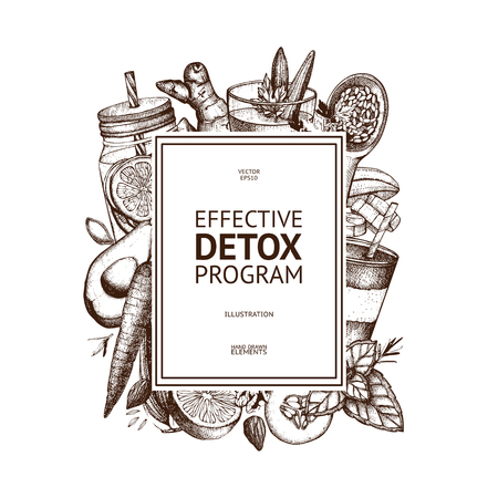 Healthy life card design. Vector background with hand drawn vegetarian products sketch. Detox food and drinks ingredients illustration. Diet template Иллюстрация