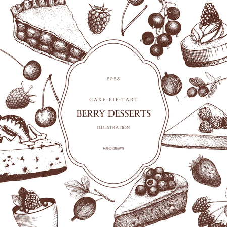 Berries desserts illustration. Tart and pie sketch. Sweet bakery. Retro template. Vectores