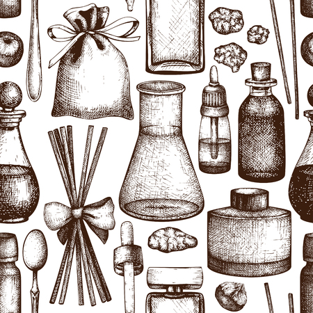 Seamless pattern with hand drawn perfumery and cosmetics bottles sketch. Organic and floral perfume materials background. Vintage illustration
