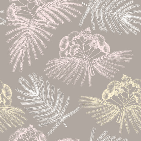 Seamless pattern with hand drawn albizia tree sketch. Vintage silk tree background.