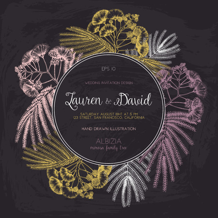 Wedding card or invitation design on chalkboard. Vector background with hand drawn Silk tree - Albizia sketch. Vintage Template. Save the Date.