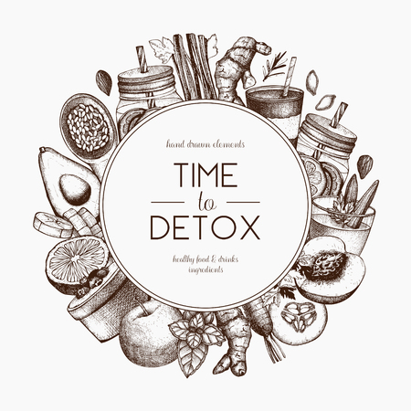 Detox diet frame design. Vector background with hand drawn vegetarian products sketch. Vintage healthy food and drinks ingredients illustration.