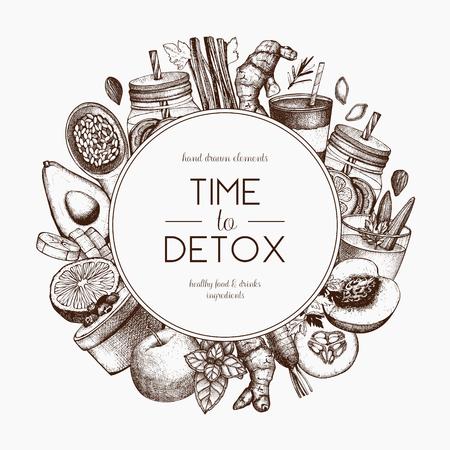 Diseño de marco de dieta de desintoxicación. Fondo de vector con bosquejo de productos vegetarianos dibujados a mano. Ejemplo sano de los ingredientes de la comida y de las bebidas del vintage.