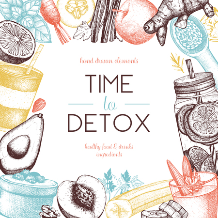 Healthy life card design. Vector background with hand drawn vegetarian products sketch. Detox food and drinks ingredients illustration. Diet template  イラスト・ベクター素材