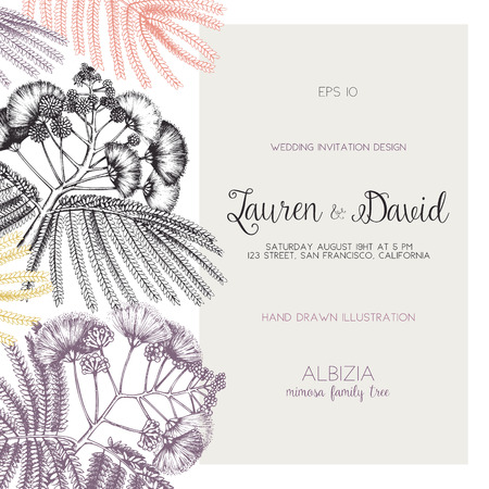 Wedding card or invitation design template. Vector background with hand drawn Silk tree - Albizia sketch. Save the Date. Illustration