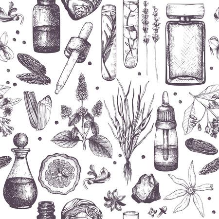 Croquis de matériaux de parfumerie et de cosmétiques. Fond d'ingrédients de parfum bio et floral. Illustration vintage