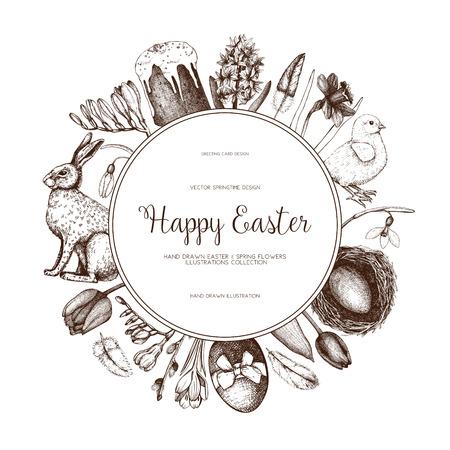 Vector illustration for easter design. Happy Easter Day vintage template on chalkboard