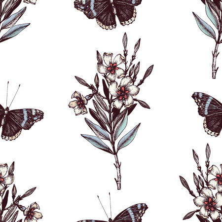 Seamless pattern with Ink hand drawn Admiral butterflies illustration and Oleander flower sketch. Background with highly detailed moth and poisonous plant sketch in pastel colors