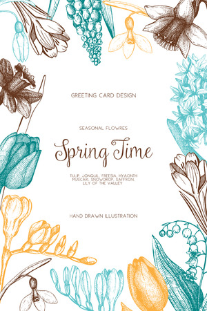 Vector card or invitation design with spring flowers illustrations. Vintage template on white background. Botanical sketch.