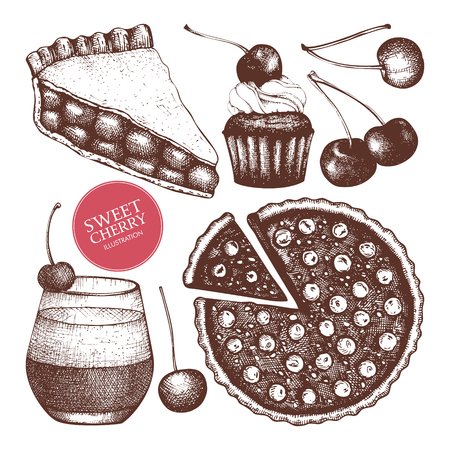 Vector set of ink hand drawn berry desserts illustration. Vintage set of cherry pie, cocktail and cupcake sketch on white background.