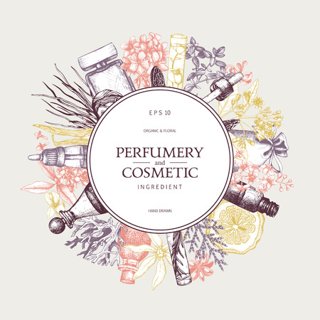 Vector design with hand drawn perfumery and cosmetics ingredients. Decorative background with vintage aromatic plants for perfume and spa Иллюстрация