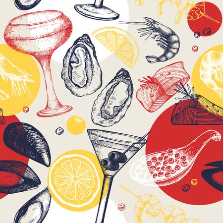 Reticolo senza giunte con lo schizzo di frutti di mare e cocktail. Sfondo astratto con specialità alimentari e bevande. Menu ristorante o bar dal design creativo con elementi vintage. Vettoriali