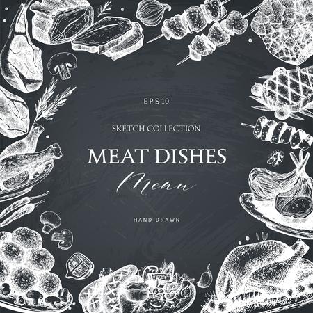 Vector frame with hand drawn meat dishes illustration. Restaurant or butchery menu design on chalkboard. Vintage template with food sketch. Иллюстрация