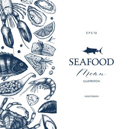 Vektor-Meeresfrüchte-Karte oder Flyer-Design. Dekorativer Rahmen mit Hand gezeichneter Meeresfrüchteillustration. Vintage-Menü-Vorlage. Vektorgrafik