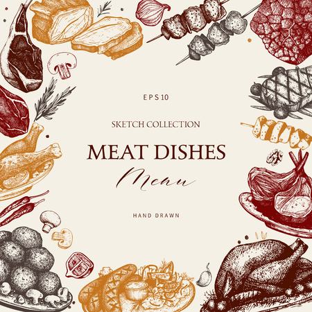 Vector design with hand drawn food illustration. Restaurant menu template. Vintage frame with meat dishes sketch.