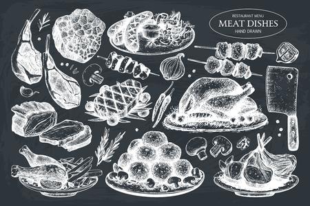 Vector collection of hand drawn meat illustration. Restaurant or butchery design elements. Vintage food sketch set on chalkboard.