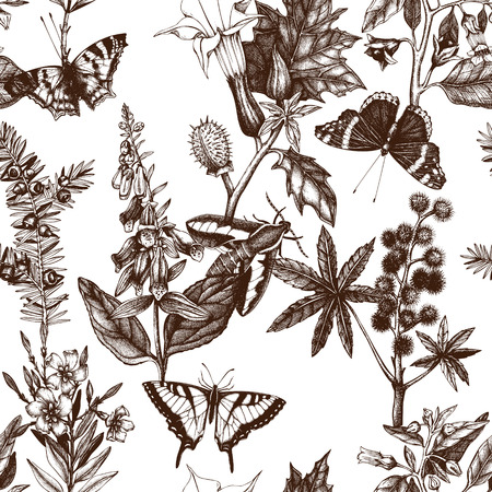 Vector seamless pattern with hand drawn poisonous plants and butterflies. Vektorové ilustrace