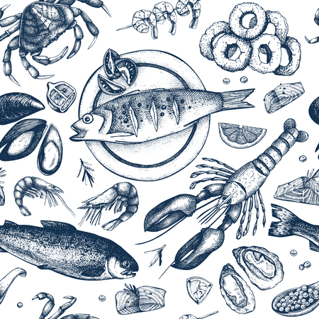 Vector Seafood background. Hand drawn sea food illustration - fresh fish, lobster, crab, oyster, mussel, squid and spice. Vintage Seamless pattern.