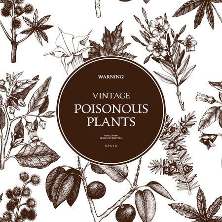 Poisonous plants. Vintage noxious flowers sketch background. Illustration