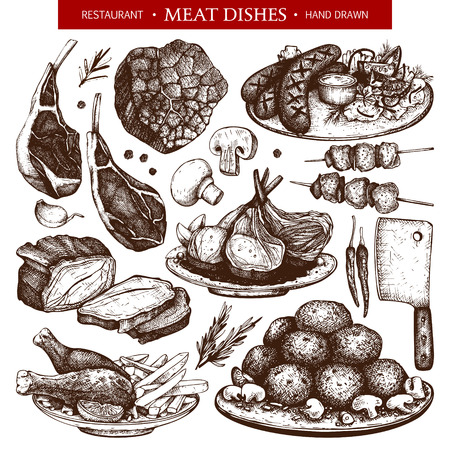 Vector collection of hand drawn meat dishes illustration. Restaurant or butchery design elements. Vintage food sketch set.
