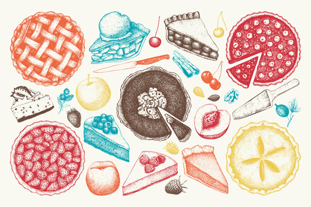 Fruit and berry baking illustration. Vintage set of traditional cake, tart and pie sketch. Sweet bakery. Top view. Çizim