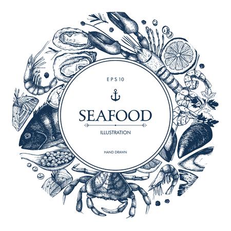 Vektor-Meeresfrüchte-Karte oder Flyer-Design. Zierrahmen mit handgezeichneter Meeresfrüchte-Skizze. Vintage-Menü-Vorlage.