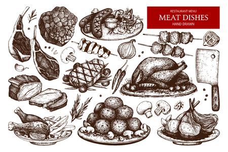 Vector collection of hand drawn meat illustration. Restaurant or butchery design elements. Vintage food sketch set. Vetores