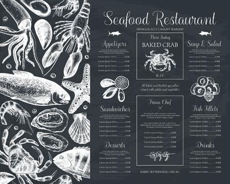 Menú de restaurante de mariscos decorativos o diseño de volante. Plantilla de menú de vector en pizarra. Ilustración de peces dibujados a mano.