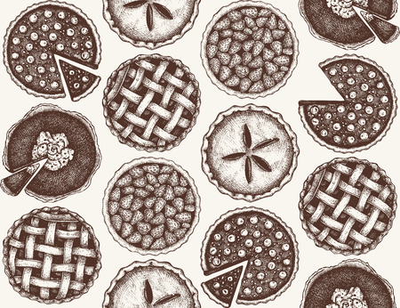 Fruit background with berry baking illustration. Vintage tart and pie sketch. Sweet bakery. Top view. 矢量图像