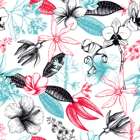 Exotic plants background. Tropical flowers design. Hand drawn exotic plants sketch. Vintage flowers and leafs. Natural seamless pattern