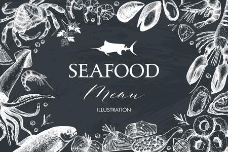 Vector Seafood card or flyer design. Decorative frame with hand drawn sea food illustration. Vintage menu template on chalkboard