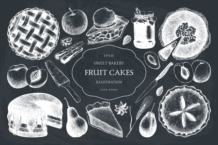 Fruit and berry baking illustration. Vintage set of traditional cake, tart and pie sketch on chalkboard. Sweet bakery. Top view.