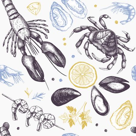 Sfondo vettoriale. Collezione di schizzi di frutti di mare disegnati a mano - pesce fresco, aragosta, granchio, ostrica, cozze, calamari e spezie. Reticolo senza giunte dell'annata dei frutti di mare.