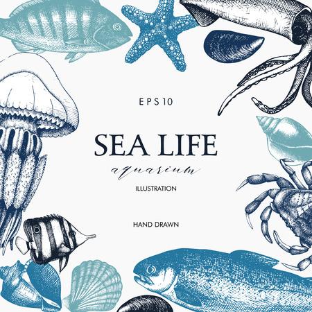 Mussels, fish, crab, starfish, squid, jellyfish, lobster sketch.  イラスト・ベクター素材