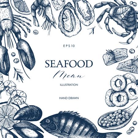 Pesce fresco, aragosta, granchio, ostrica, cozza, calamari e spezie. Disegno decorativo di carta o volantino con schizzo di frutti di mare. Modello di menu vintage.