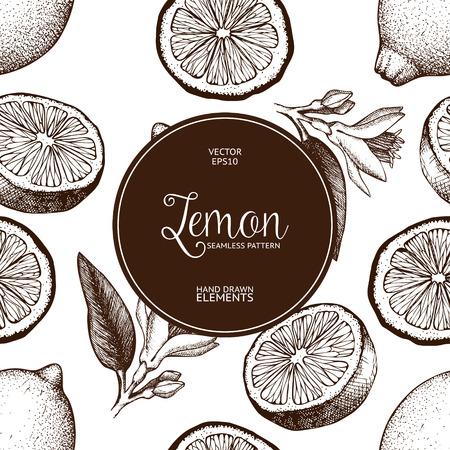 Lemon fruit, flowers, slice and leaves sketch. Vintage citrus background isolated on white Illustration