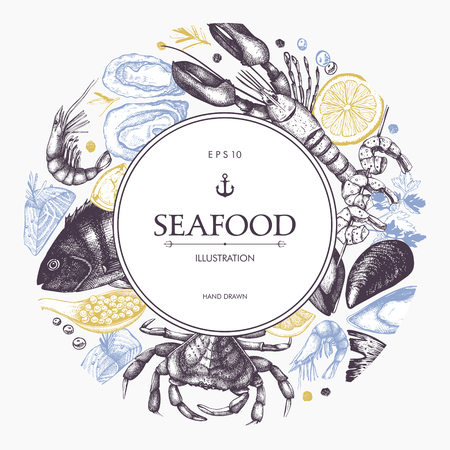 Fresh fish, lobster, crab, oyster, mussel, squid and spice. Decorative card or flyer design with sea food sketch. Vintage menu template.