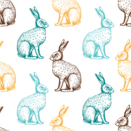 Seamless vintage pattern with hand drawn hare illustrations. Vector Easter background.