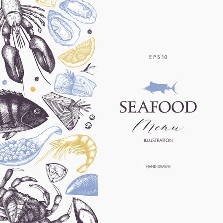 Vector Seafood card or flyer design. Decorative frame with hand drawn sea food illustration. Vintage menu template.