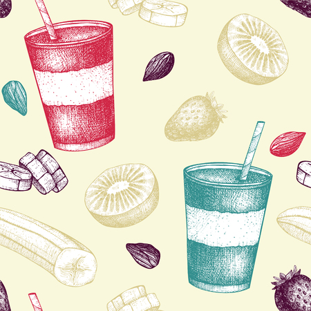 Seamless vector pattern with fruit smoothie ink hand drawn illustration. Banana, kiwi, nuts and strawberries smoothie background.Healthy drink recipe in pastel colors