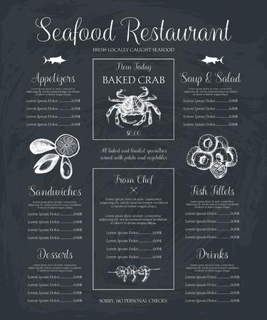 Menú de restaurante de mariscos decorativos o diseño de volante. Plantilla de menú de vector en pizarra. Ilustración de peces dibujados a mano. Ilustración de vector