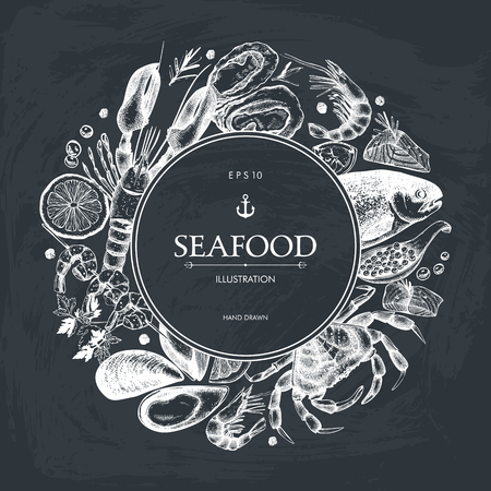 Vector Seafood card design. Hand drawn sea food frame with fresh fish, lobster, crab, oyster, mussel, squid and spice. Vintage fish dishes illustration on chalkboard