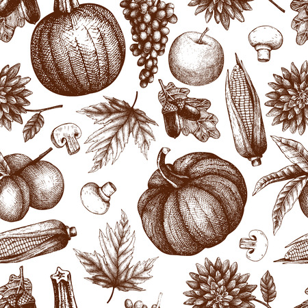 Seamless autumn pattern. Vector background with hand drawn harvest elements. Vintage sketch. Traditional fall festival design.