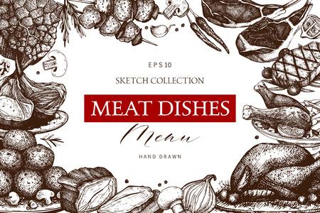 Vector design with hand drawn food illustration. Restaurant menu template. Vintage frame with meat dishes sketch. Vetores