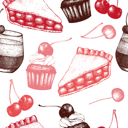 Fruit and berry dessert illustration. Cupcake and pie sketch. Sweet bakery. 向量圖像