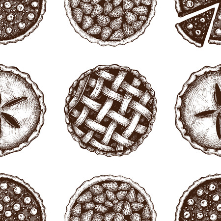 Vector background with hand drawn traditional american cakes illustration. Berry pie and tart sketch. Top view design.