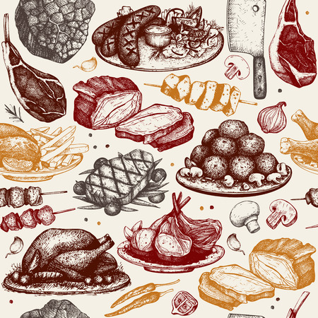 Vector seamless pattern with hand drawn meat illustration. Restaurant or butchery design. Vintage background with food sketch. Vetores